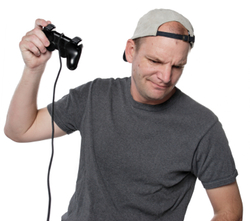 Man playing a video game